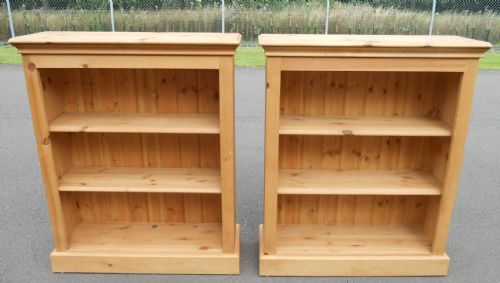 Pair Pine Open Bookcases